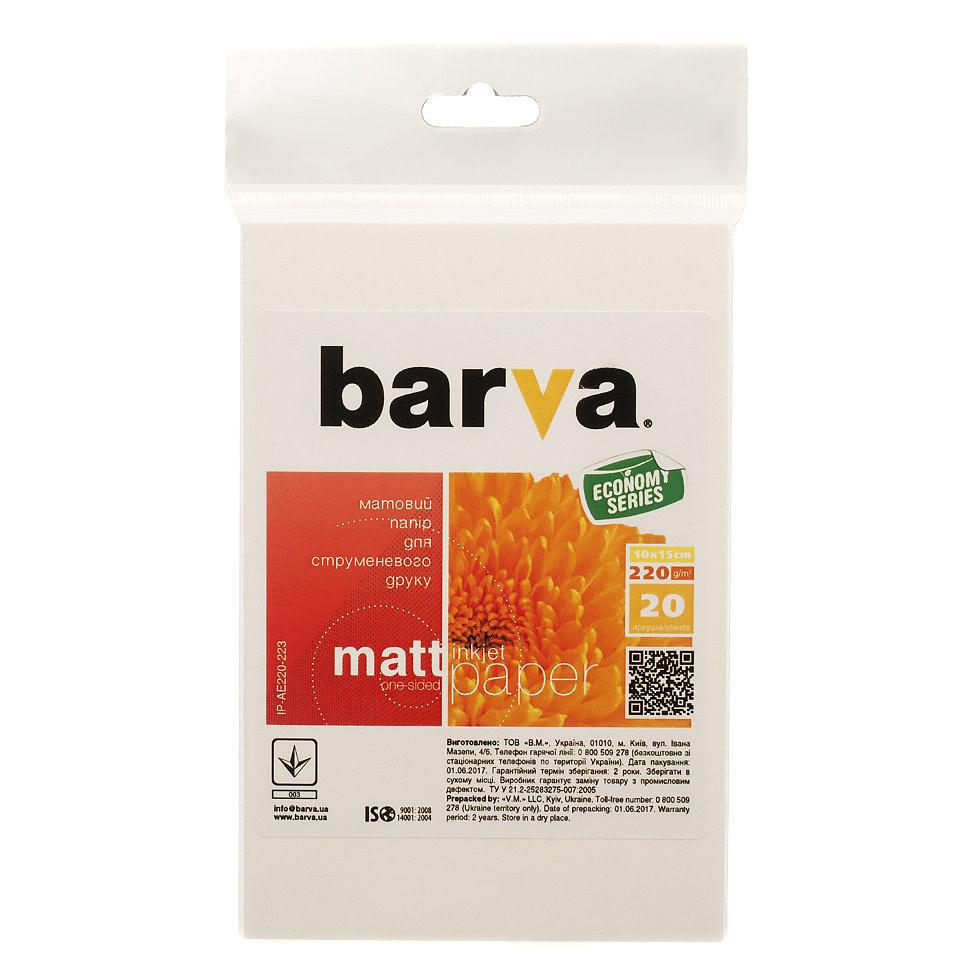 Фотобумага 10х15, 220г/м, матовая, 20л (IP-BAR-AE220-223) BARVA